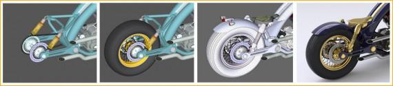 Diese Grafik zeigt die Entwurfs- und Konstruktionsentwicklung-Phase eines Motorrades.