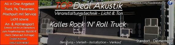 So wirbt Top DEeal Akustik aktuell für den Rock 'N' Roll Truck. ( Anzeige )