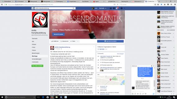 Beleg-Sreenshot Facebook: Die Antifa hat sich einiges vorgeneommen!