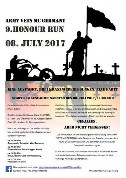 Nächsten Samstag startet der 9. Honour run des Army Vets MC Germany.
